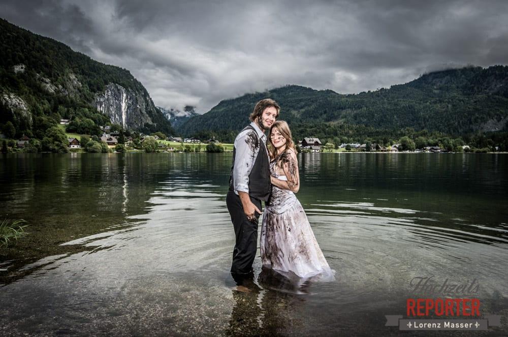 Brautpaar im See, Trash the Dress, Brautpaar, Hochzeits shooting, Hochzeitsfotograf, Wedding Photographer, Grundlsee, Land Salzburg, Lorenz Masser
