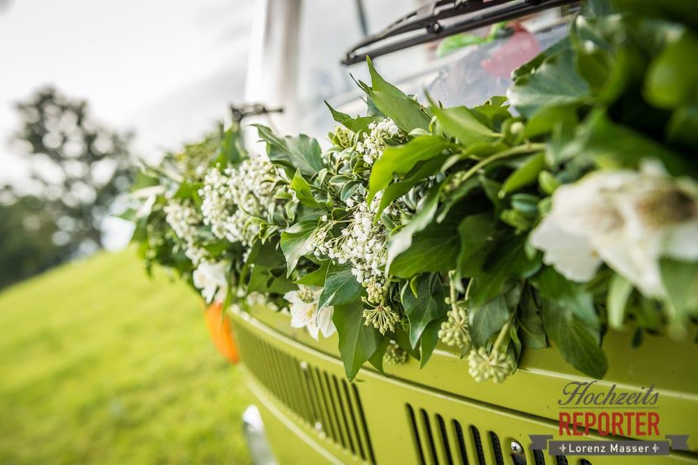 Blumen, VW Bus, Detail, Winterbauer, Altenmarkt, Wedding, Wedding Photographer, Hochzeitsfotograf, Land Salzburg, Lorenz Masser