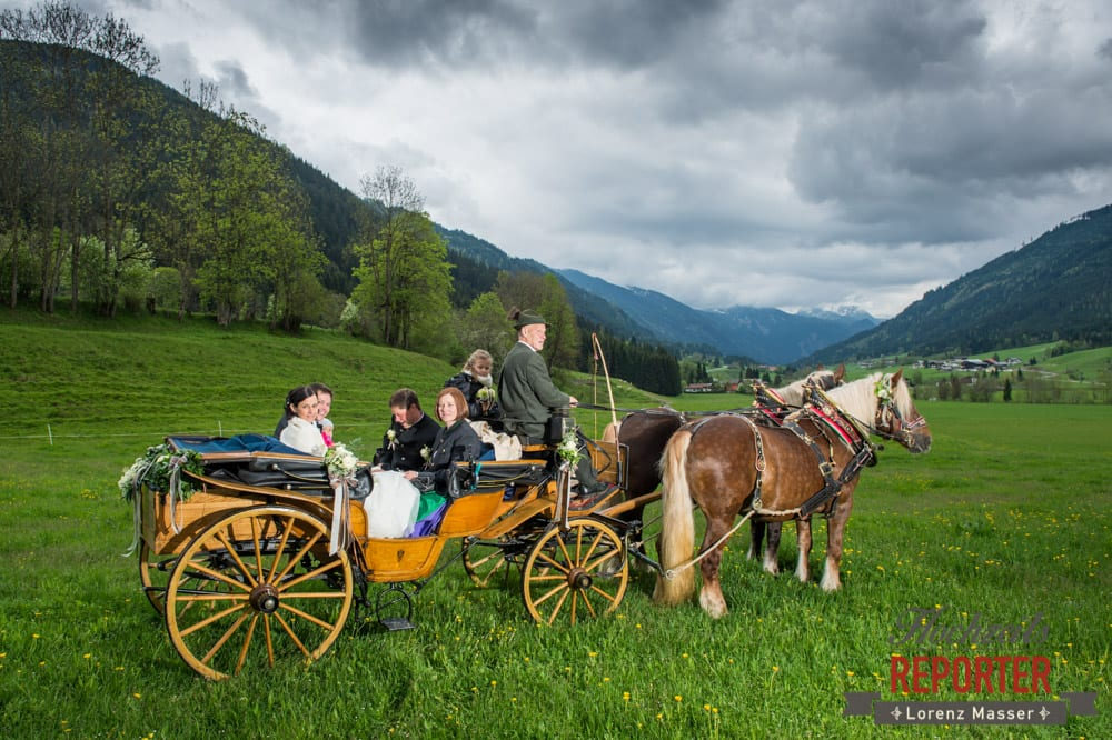 Pferdekutsche, Hochzeitsgesellschaft, Radstadt, Hochzeitsfotograf, Wedding Photographer,Land Salzburg,  Lorenz Masser