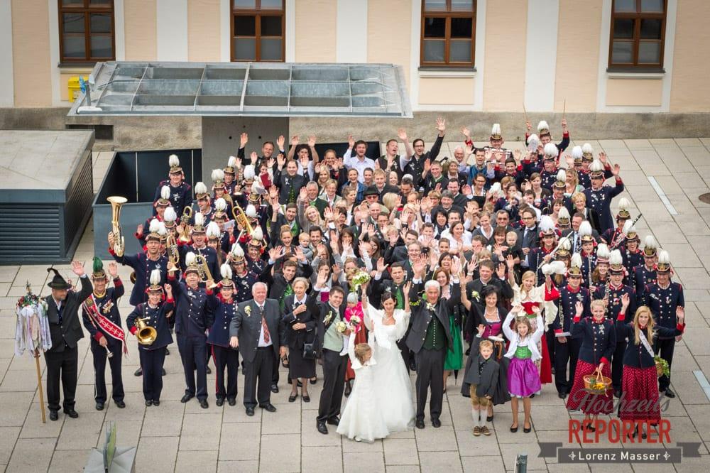 Hochzeitsgesellschaft und Musikanten, Gruppenfoto, Radstadt, Hochzeitsfotograf, Wedding Photographer,Land Salzburg,  Lorenz Masser