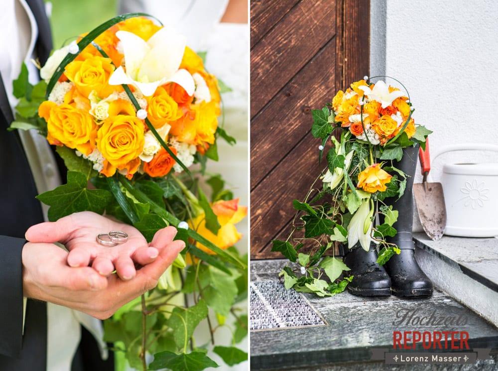 Orange weißer Blumenstrauß, Detail, Radstadt, Wedding Photographer, Hochzeit,Hochzeitsfotograf, Land Salzburg, Lorenz Masser