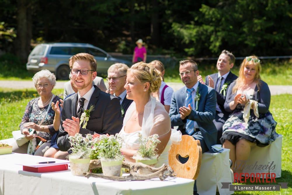 Trauung des Brautpaares, Unterhofalm, Filzmoos, Hochzeitsfotograf, Wedding Photographer, Lorenz Masser