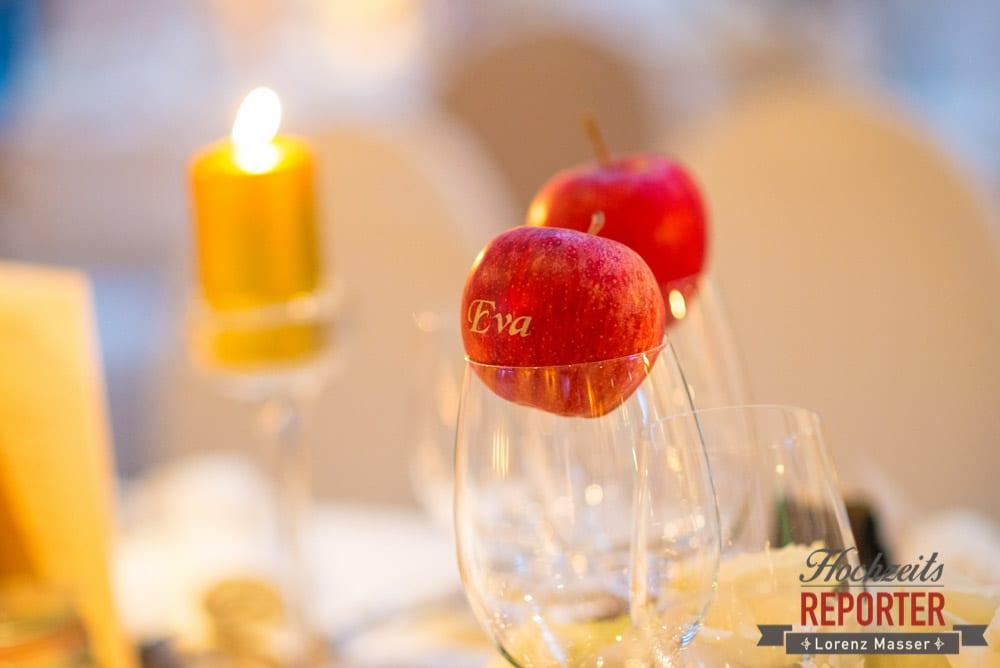 Äpfel als Namenskärtchen, Schloss Prielau, Zell am See,  Wedding Photographer, Hochzeit,Hochzeitsfotograf, Land Salzburg, Lorenz Masser