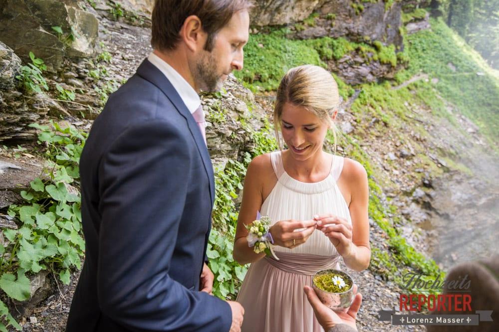 Brautpaar, Ringtausch, Gnadenalm, Obertauern, Johanneswasserfall, Hochzeitsfotograf, Land Salzburg, Lorenz Masser