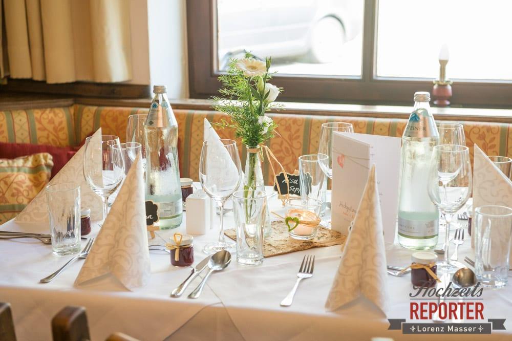 Tischdeko bei Hochzeit, Hochzeit, Radstadt, Hochzeitsfotograf, Land Salzburg, Lorenz Masser