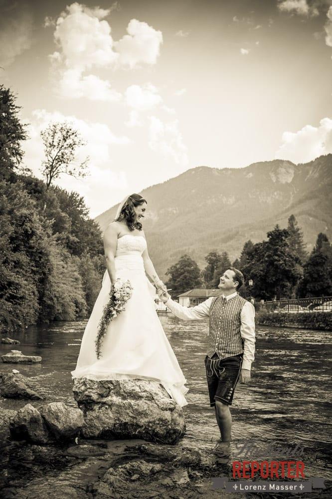 Brautpaar, Sepia, Standesamtliche Hochzeit, Bad Aussee, Hochzeitsfotograf, Land Salzburg, Lorenz Masser