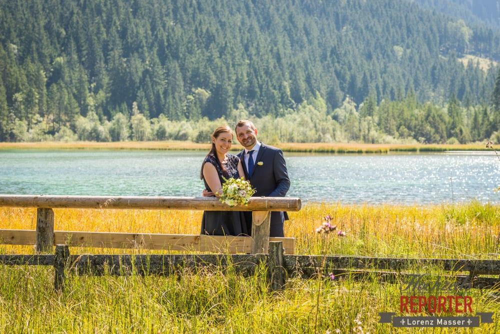 Brautpaar am See, Hochzeit, Hochzeitsfotograf, Wagrain, Land Salzburg, Lorenz Masser