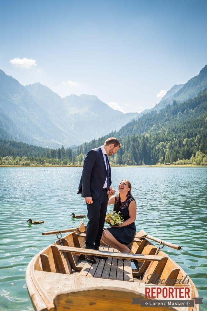 Brautpaar bei See, Hochzeit, Hochzeitsfotograf, Wagrain, Land Salzburg, Lorenz Masser