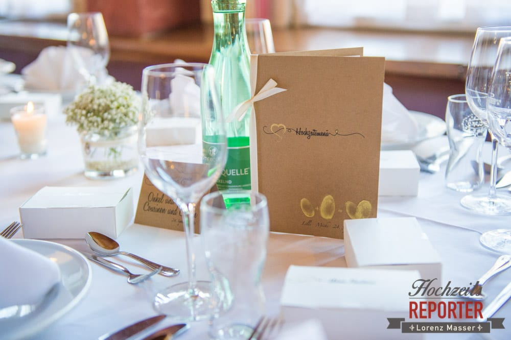 Tischdekoration bei Hochzeit mit Farbe Braun und Weiß, Hochzeit, Hochzeitsfotograf, Altenmarkt, Land Salzburg, Lorenz Masser