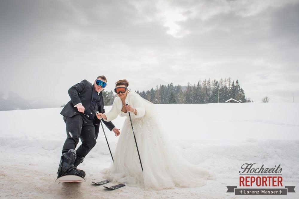 Brautpaar auf Skipiste, Brautpaar, After Wedding Shooting, Hofstadl, Flachau, Hochzeitsfotograf, Land Salzburg