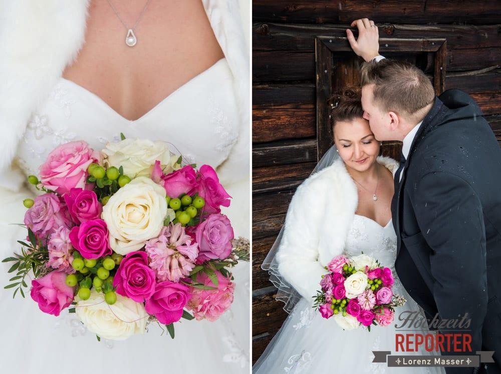Brautstrauß, Brautpaar, After Wedding Shooting, Hofstadl, Flachau, Hochzeitsfotograf, Land Salzburg