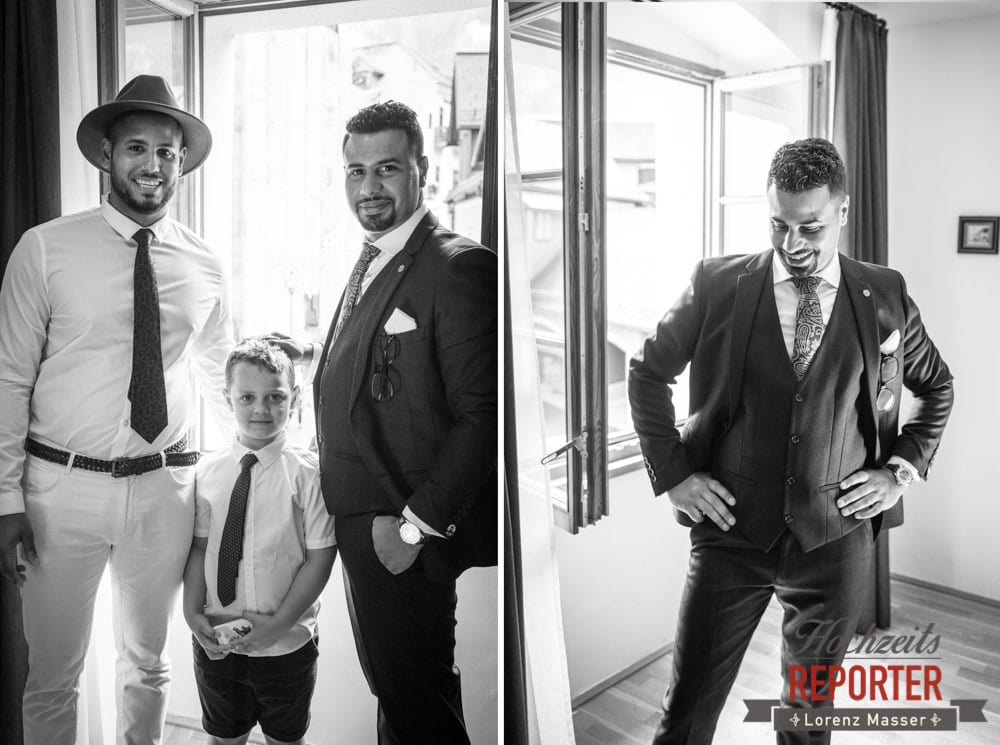 Bräutigam mit Trauzeuge und Kind am Fenster, Hochzeit, Hallstatt, Heritage Hotel, Hochzeit, Hochzeitsfotograf, Fotograf Land Salzburg, Lorenz Masser