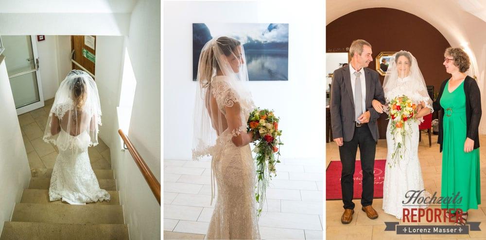 Braut vor dem Gang vor dem Altar, Hochzeit, Hallstatt, Heritage Hotel, Hochzeit, Hochzeitsfotograf, Fotograf Land Salzburg, Lorenz Masser