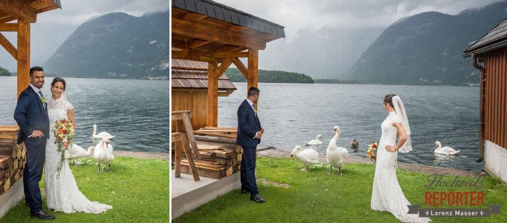 Brautpaar mit Schwänen, Heritage Hotel, Hochzeit, Wedding, Hochzeitsfotograf, Fotograf Land Salzburg, Lorenz Masser