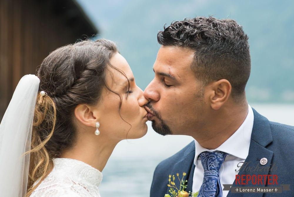 Kuss des Brautpaares, Portrait, Heritage Hotel, Hochzeit, Wedding, Hochzeitsfotograf, Fotograf Land Salzburg, Lorenz Masser