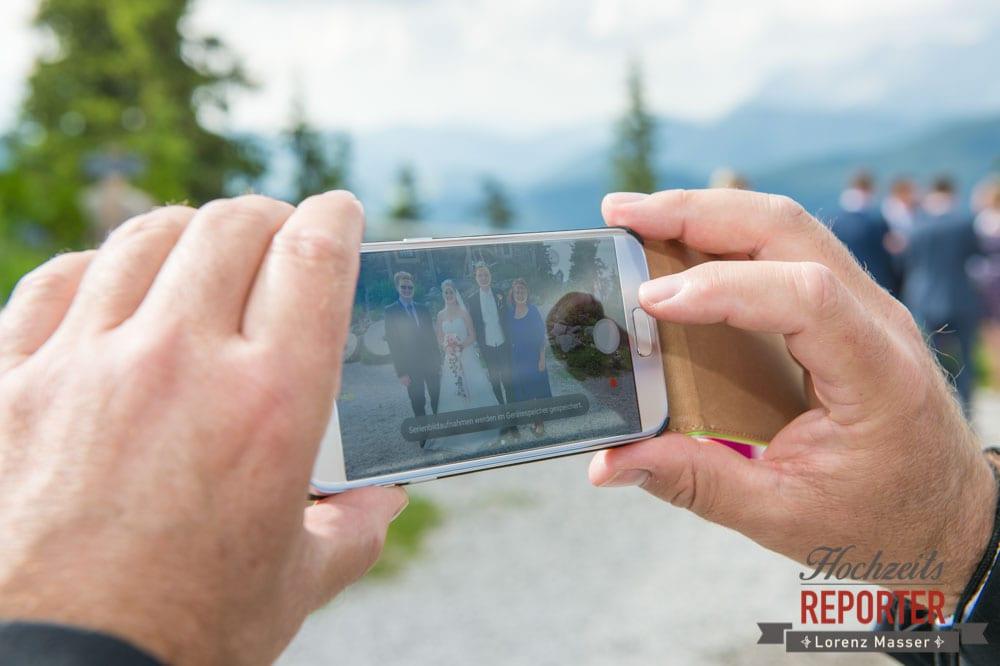 Handy, Hochzeit, Brautpaar, Hochzeitsfotograf, Land Salzburg, Leogang, Asitz