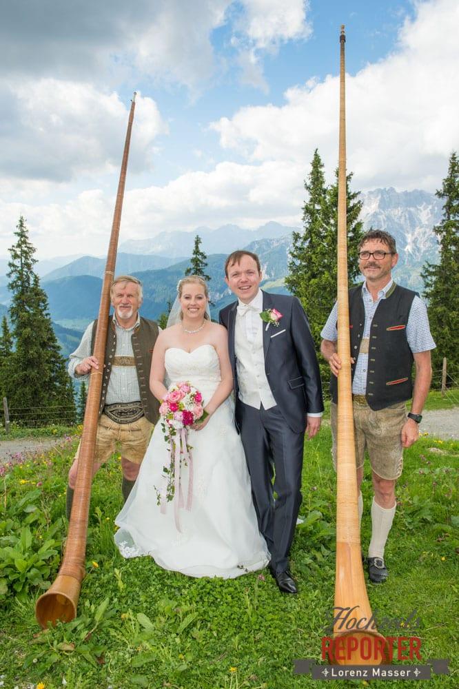 Alphorn, Hochzeit, Brautpaar, Hochzeitsfotograf, Land Salzburg, Leogang, Asitz