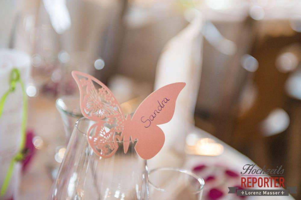 Schmetterling, Tischdeko, Hochzeitsgestaltung, Namenskärtchen,  Hochzeit, Hochzeitsfotograf, Land Salzburg, Leogang, Asitz