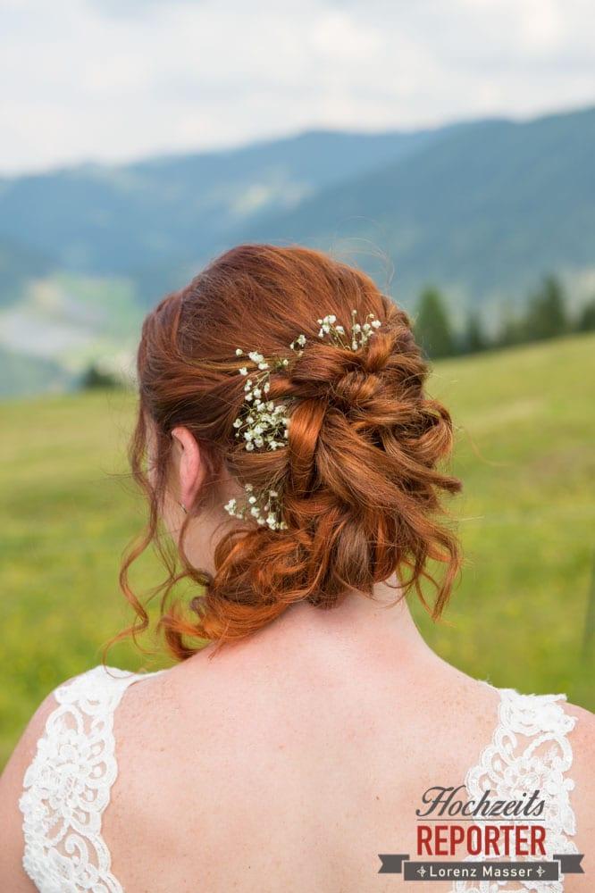 Hochzeitsfrisur Braut, Portrait, Lisa Alm, Hochzeit, Wedding, Hochzeitsfotograf, Land Salzburg, Lorenz Masser