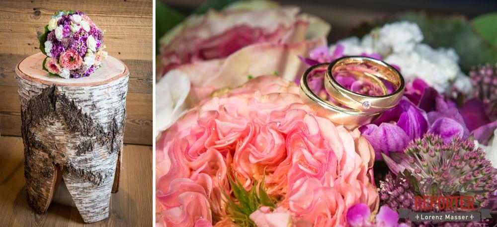 Brautstrauß, Goldringe mit kleinem Diamant, Lisa Alm, Flachau, Hochzeit, Wedding, Hochzeitsfotograf, Land Salzburg, Lorenz Masser