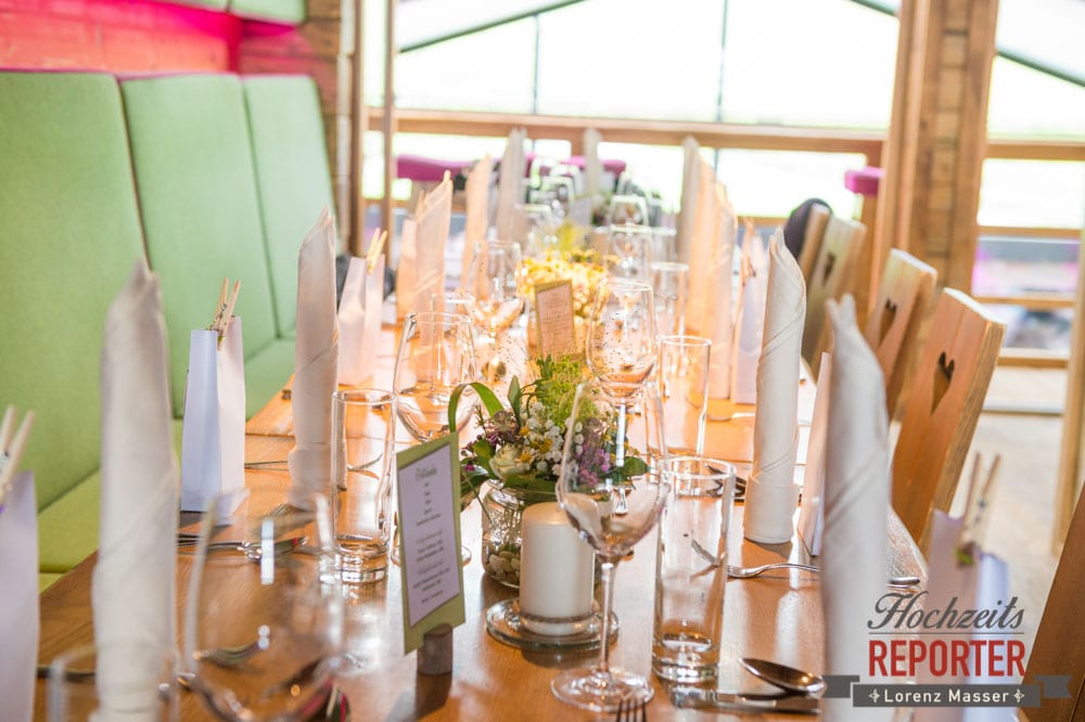 Hochzeitstafel, Tischdeko, Lisa Alm, Flachau, Hochzeit, Wedding, Hochzeitsfotograf, Land Salzburg, Lorenz Masser